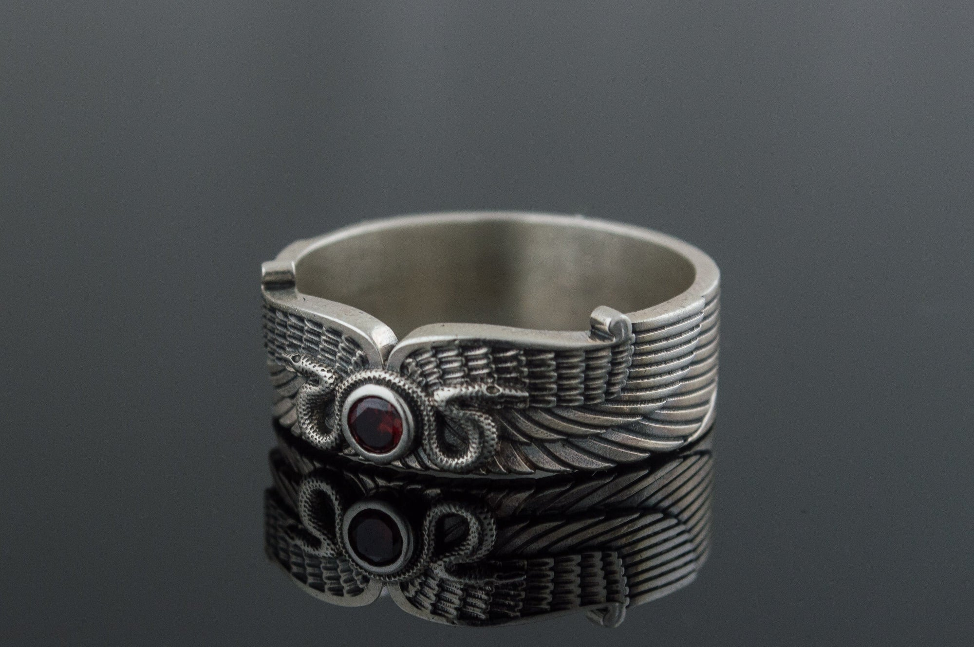 Sterling Silver Ring With Snake Symbol And Cubic Zirconia Ancient