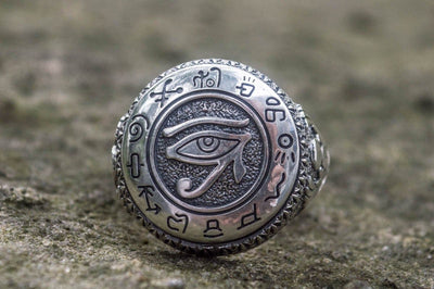 Ancient Egypt Eye of Ra Sterling Silver Ring wit Scarabeus