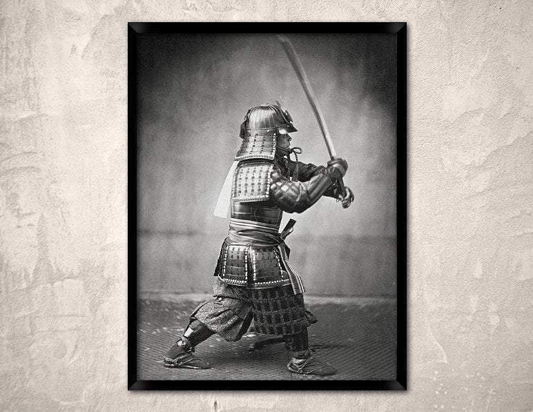 Feudal Japan Armoured Samurai with Sword and Dagger Japanese Art Poster Ancient Treasures Ancientreasures Viking Odin Thor Mjolnir Celtic Ancient Egypt Norse Norse Mythology