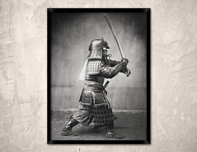 Feudal Japan Armored Samurai with Sword and Dagger Japanese Art Poster