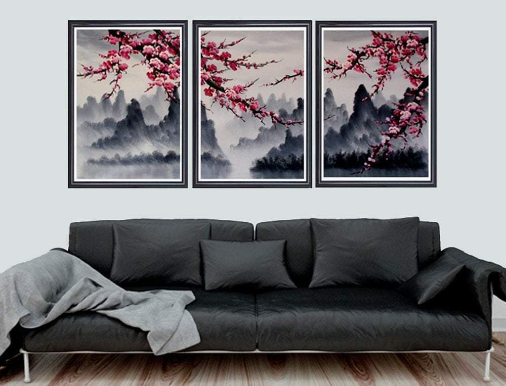 Feudal Japan Cherry Blossom Wall Mural Art Print Set Ancient Treasures Ancientreasures Viking Odin Thor Mjolnir Celtic Ancient Egypt Norse Norse Mythology