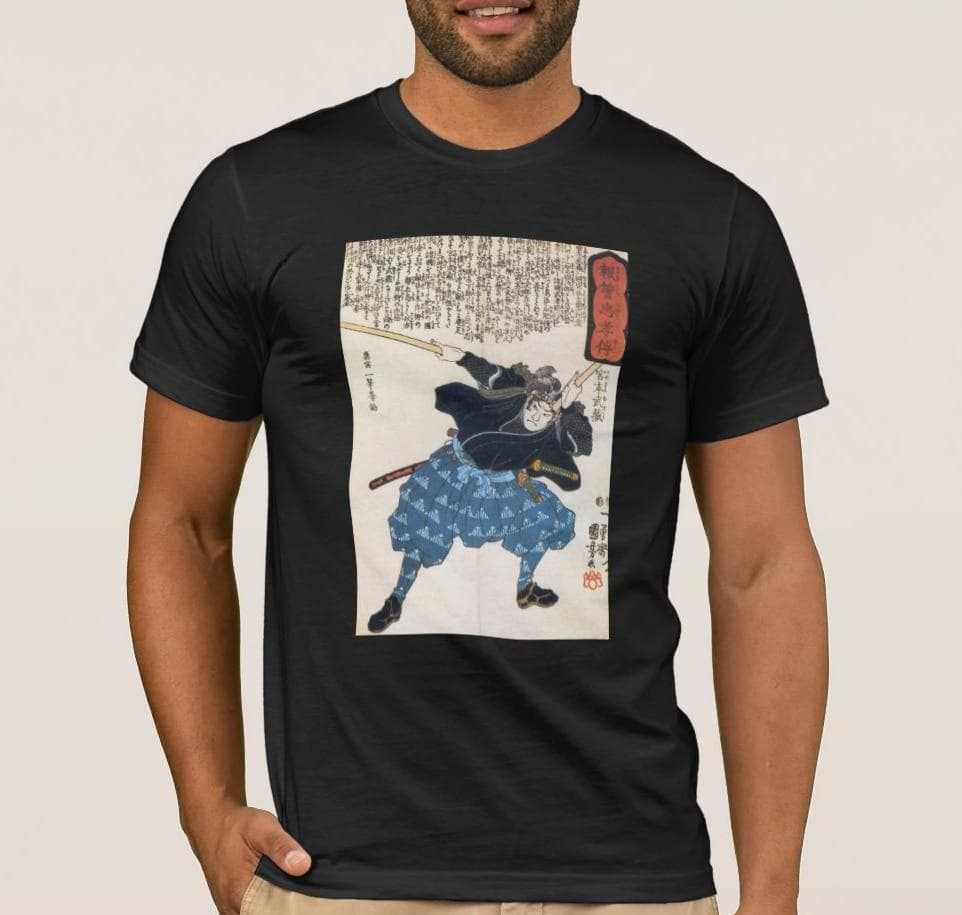 Feudal Japan Epic Samurai Warrior Miyamoto Musashi Men's T-Shirt Ancient Treasures Ancientreasures Viking Odin Thor Mjolnir Celtic Ancient Egypt Norse Norse Mythology