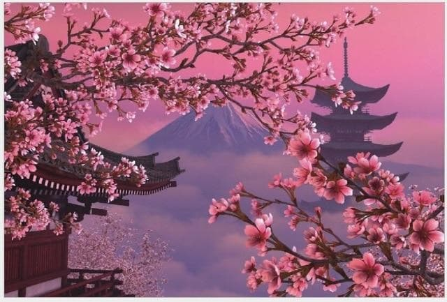 Feudal Japan Mount Fuji Cherry Blossom 1000 Piece Jigsaw Puzzle Ancient Treasures Ancientreasures Viking Odin Thor Mjolnir Celtic Ancient Egypt Norse Norse Mythology