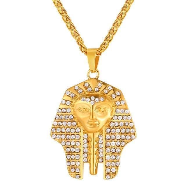 Gold-color Ancient Egypt Pharaoh Pendant Head Necklace