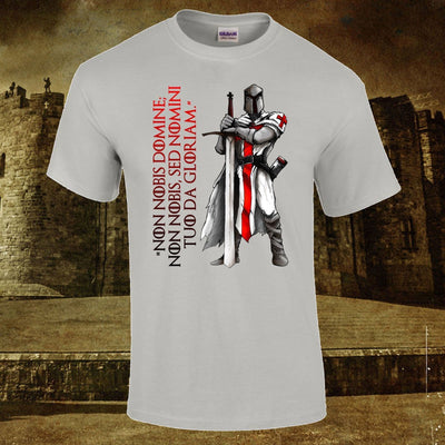 Gray / Small Crusader Knight Templar T-Shirt