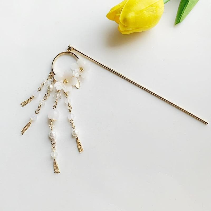Hair Clips and Pins Japanese Sakura Flower and Pearl Tassels Elegant Kanzashi Hair Stick Ancient Treasures Ancientreasures Viking Odin Thor Mjolnir Celtic Ancient Egypt Norse Norse Mythology