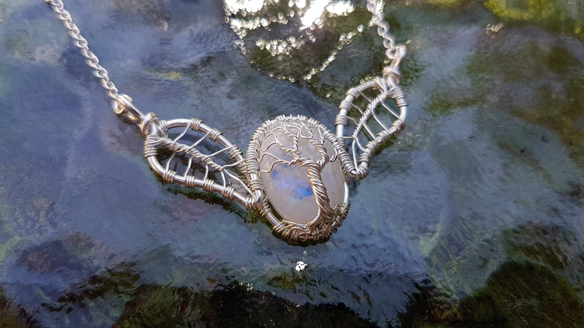 Wire Wrap Moonstone Tree of Life Leaf Necklace