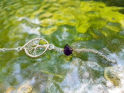 Handmade Wire Rap Jewelry Wire Wrap Tree of Life Amethyst Gemstone Necklace