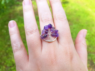 Handmade Wire Rap Jewelry Wire Wrap Tree of Life Amethyst Gemstone Ring