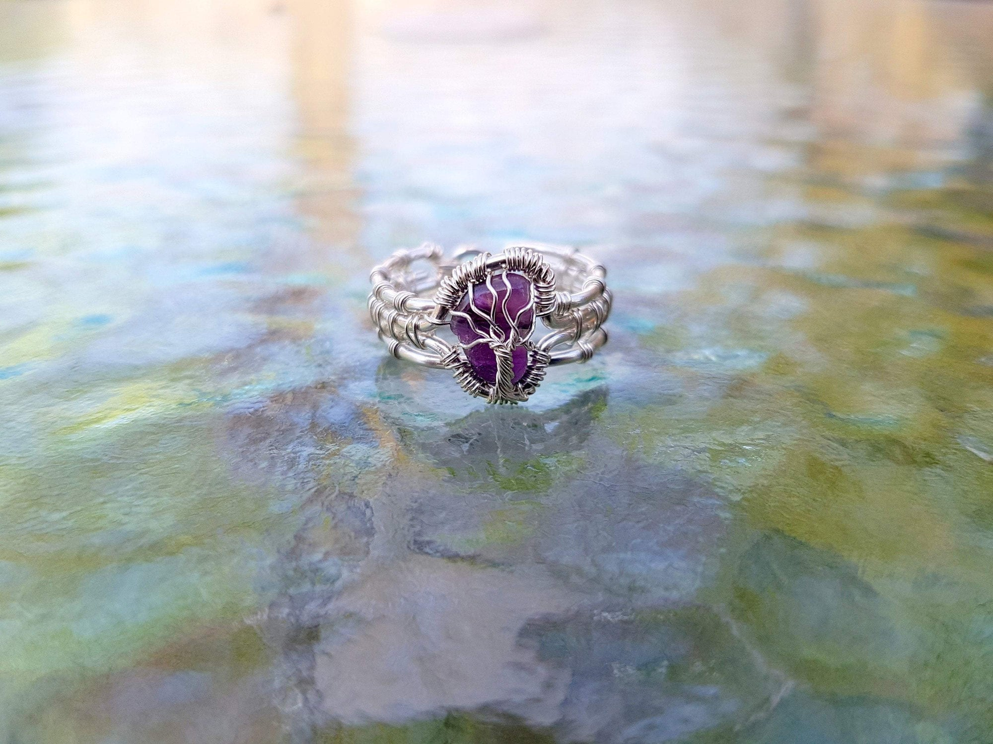 Wire Wrap Tree of Life Amethyst Gemstone Ring