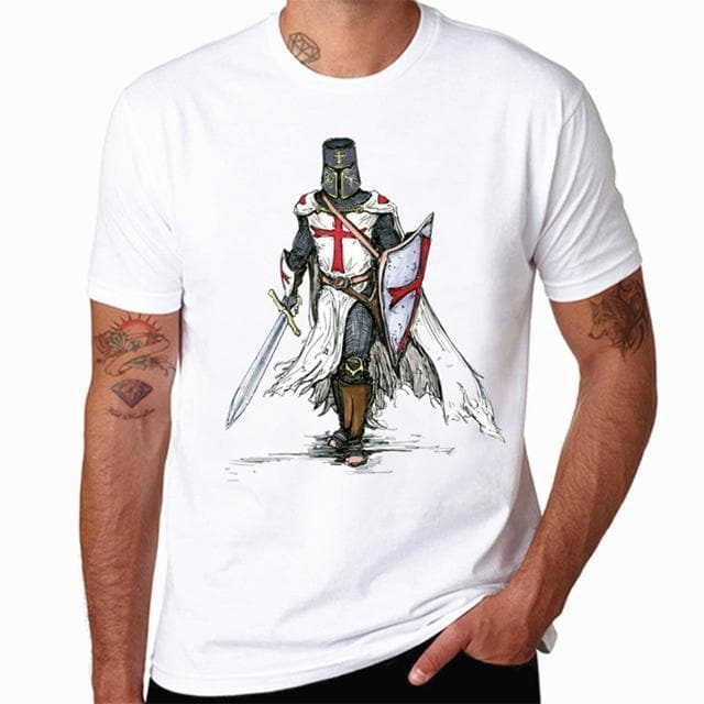Templar Knight White Print T Shirt