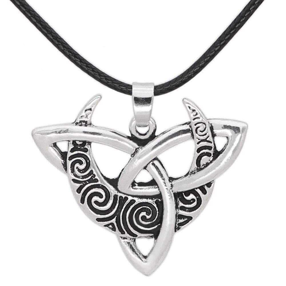 Wiccan Crescent Moon Triquetra Necklace