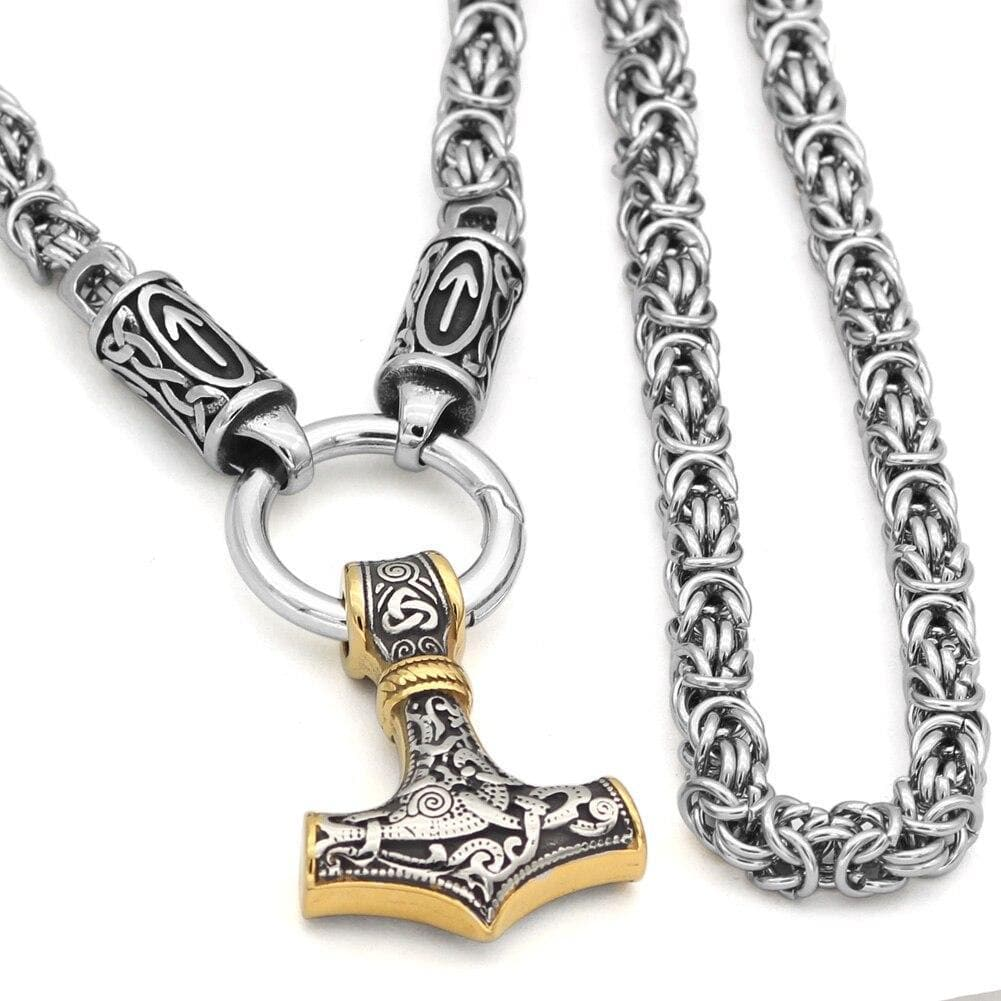 Mjolnir Triquetra King Chain Necklace