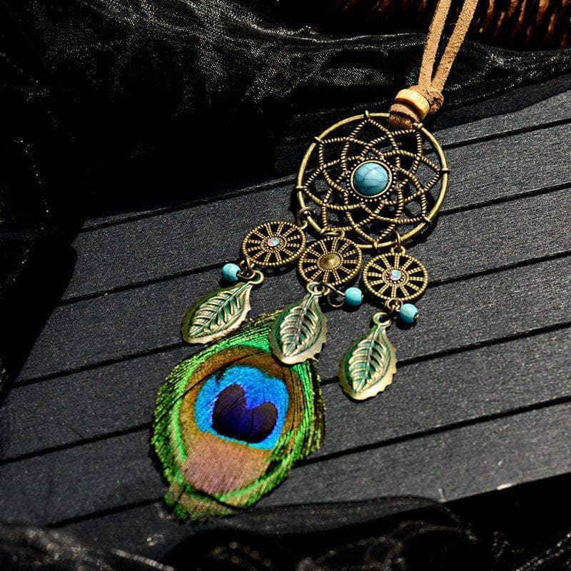 Home Native American Dreamcatcher Peacock Feather Tassel Necklace Ancient Treasures Ancientreasures Viking Odin Thor Mjolnir Celtic Ancient Egypt Norse Norse Mythology