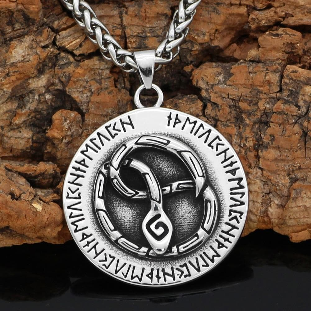 Home Viking Nordic Snake Rune Stainless Steel Pendant & Necklace Ancient Treasures Ancientreasures Viking Odin Thor Mjolnir Celtic Ancient Egypt Norse Norse Mythology