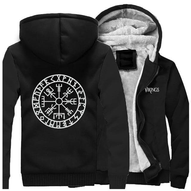 Hoodie Black / XS Viking Vegvisir Hoodie Ancient Treasures Ancientreasures Viking Odin Thor Mjolnir Celtic Ancient Egypt Norse Norse Mythology