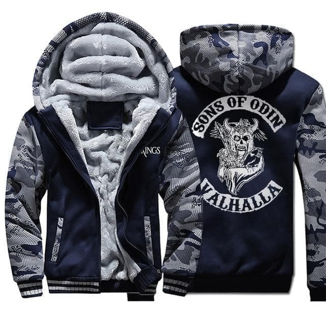 Hoodie Dark Blue 5 / XS Sons of Odin Viking Hoodie Ancient Treasures Ancientreasures Viking Odin Thor Mjolnir Celtic Ancient Egypt Norse Norse Mythology