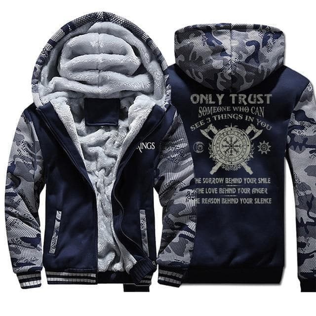 Hoodie Dark Blue 6 / M Vikings Helm of Awe Hoodie Ancient Treasures Ancientreasures Viking Odin Thor Mjolnir Celtic Ancient Egypt Norse Norse Mythology