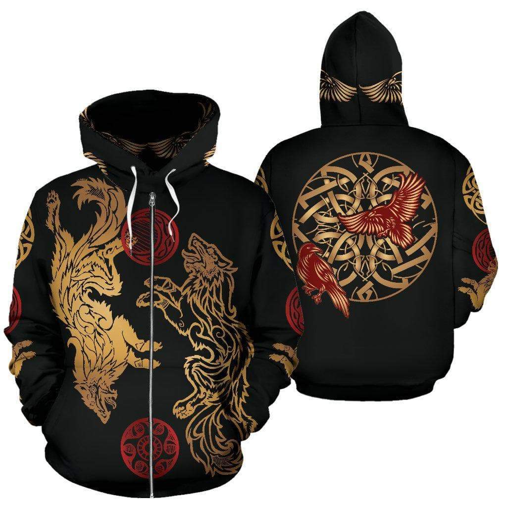 Hoodie Hati and Skol Vikings 3D Zip Hoodie Ancient Treasures Ancientreasures Viking Odin Thor Mjolnir Celtic Ancient Egypt Norse Norse Mythology