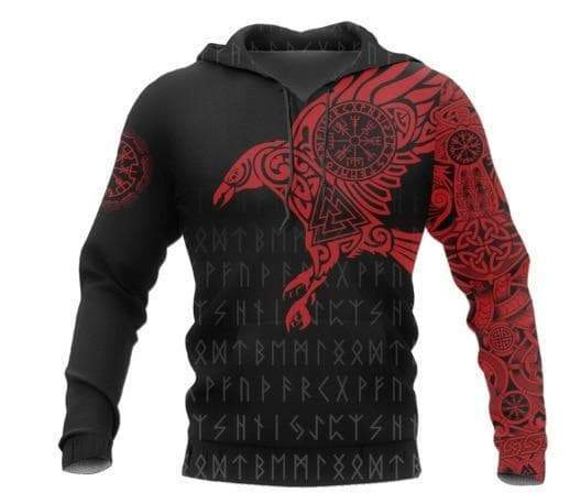 Hoodie Red Huginn and Munnin Vikings Hoodie Ancient Treasures Ancientreasures Viking Odin Thor Mjolnir Celtic Ancient Egypt Norse Norse Mythology