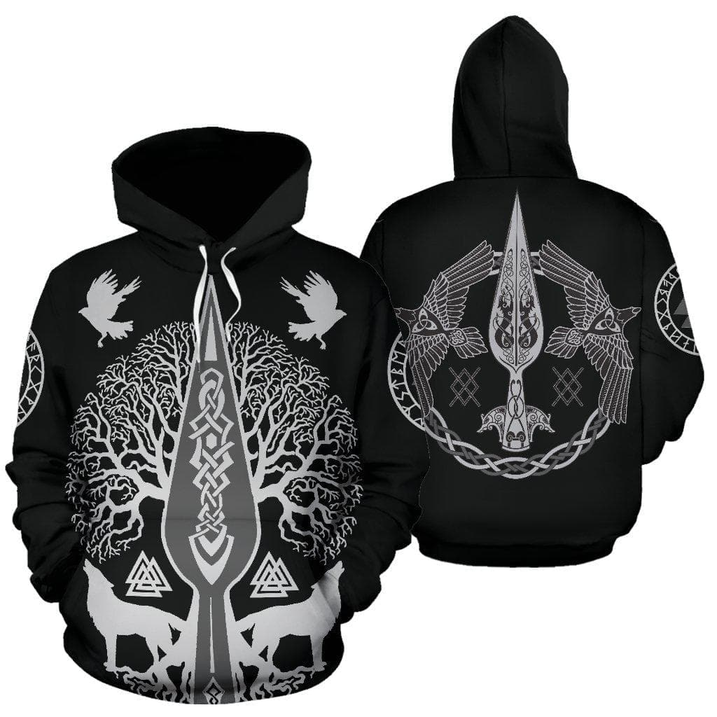 Hoodie Vikings Gungnir and Yggdrasil Hoodie Ancient Treasures Ancientreasures Viking Odin Thor Mjolnir Celtic Ancient Egypt Norse Norse Mythology