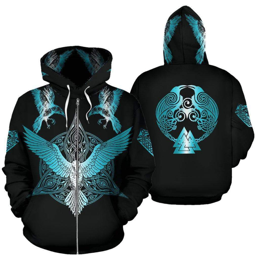 Hoodie Vikings Ravens 3D Zip Hoodie Ancient Treasures Ancientreasures Viking Odin Thor Mjolnir Celtic Ancient Egypt Norse Norse Mythology