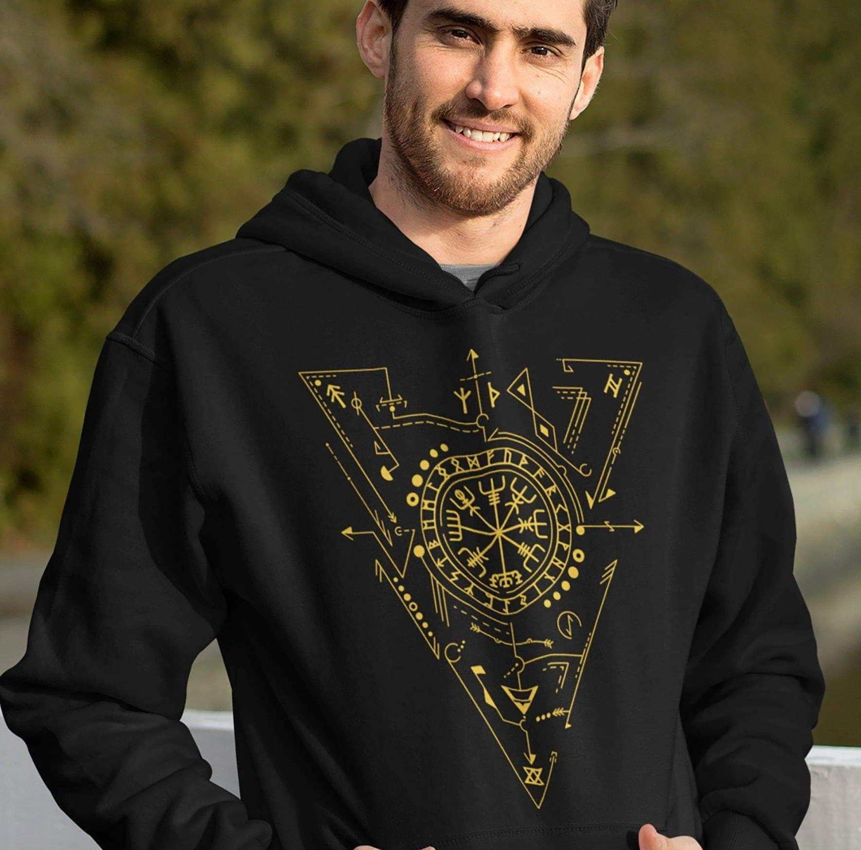 Hoodie Vikings Vegvisir - The Viking Compass Unisex Hoodie Ancient Treasures Ancientreasures Viking Odin Thor Mjolnir Celtic Ancient Egypt Norse Norse Mythology