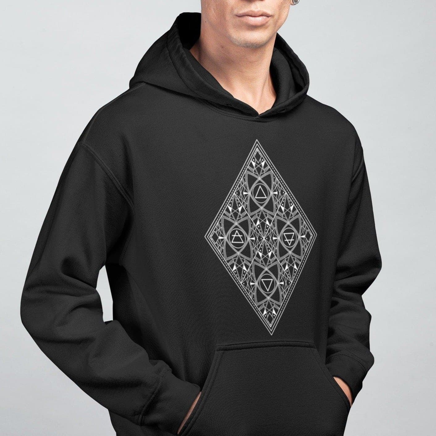 Hoodie Wiccan Earth Air Fire Water | Alchemy Symbols Unisex Hoodie Ancient Treasures Ancientreasures Viking Odin Thor Mjolnir Celtic Ancient Egypt Norse Norse Mythology