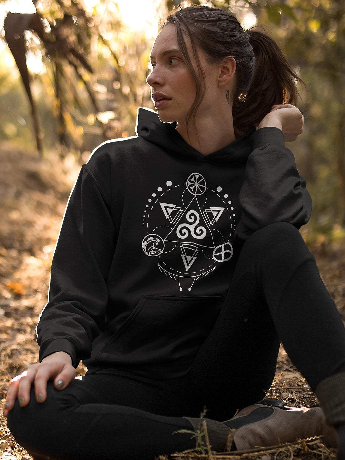 Hoodies Celtic Triskele with Earth, Sea & Sky Unisex Hoodie Ancient Treasures Ancientreasures Viking Odin Thor Mjolnir Celtic Ancient Egypt Norse Norse Mythology