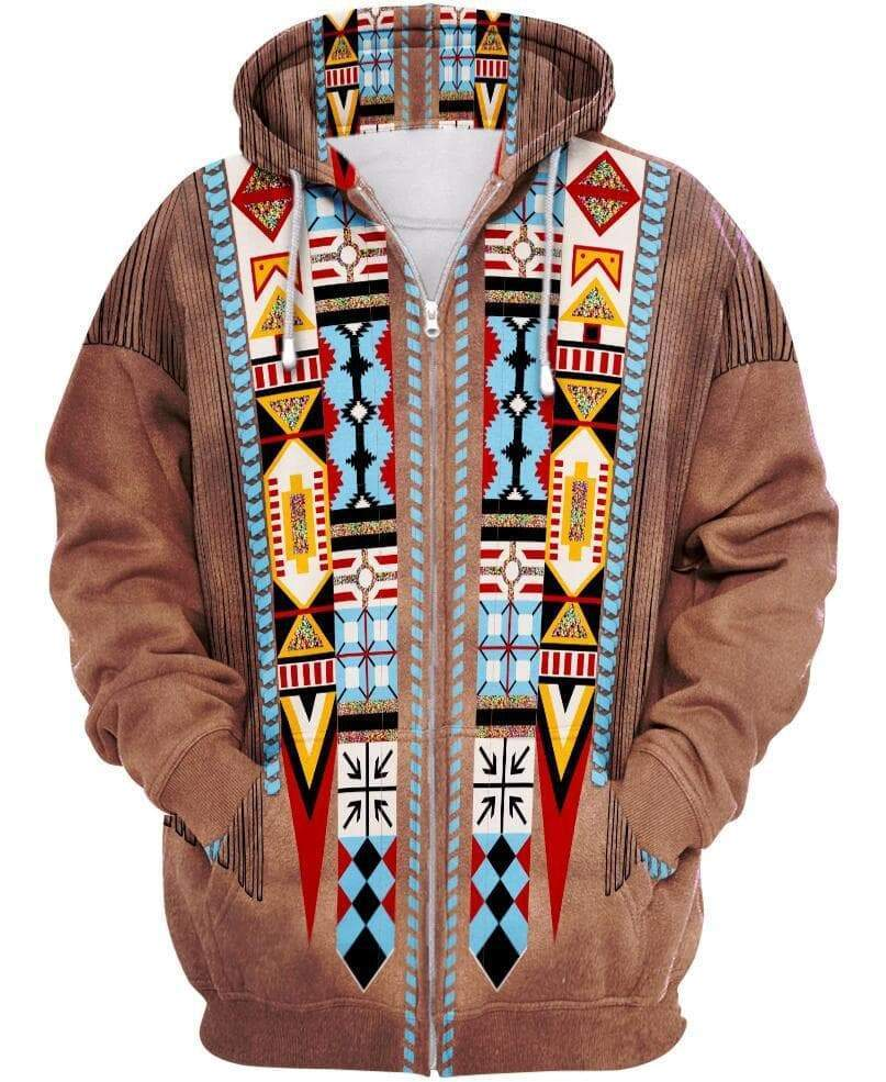 Hoodies & Sweatshirts Native American Colorful Tribal Unisex Zip Hoodie Ancient Treasures Ancientreasures Viking Odin Thor Mjolnir Celtic Ancient Egypt Norse Norse Mythology