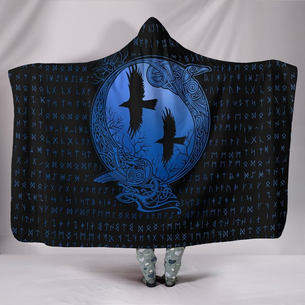 Huginn and Munnin Blue Hooded Blanket