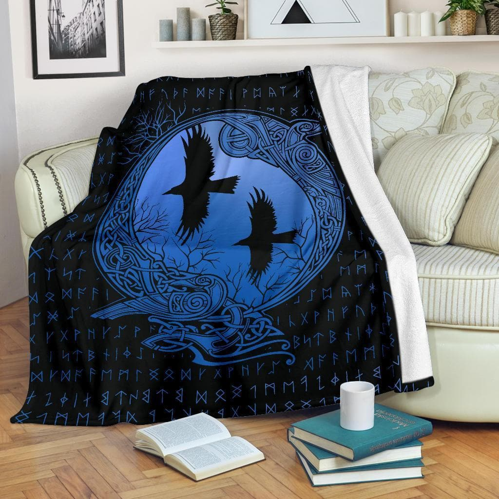 Huginn and Munnin Blue Premium Blanket Ancient Treasures Ancientreasures Viking Odin Thor Mjolnir Celtic Ancient Egypt Norse Norse Mythology