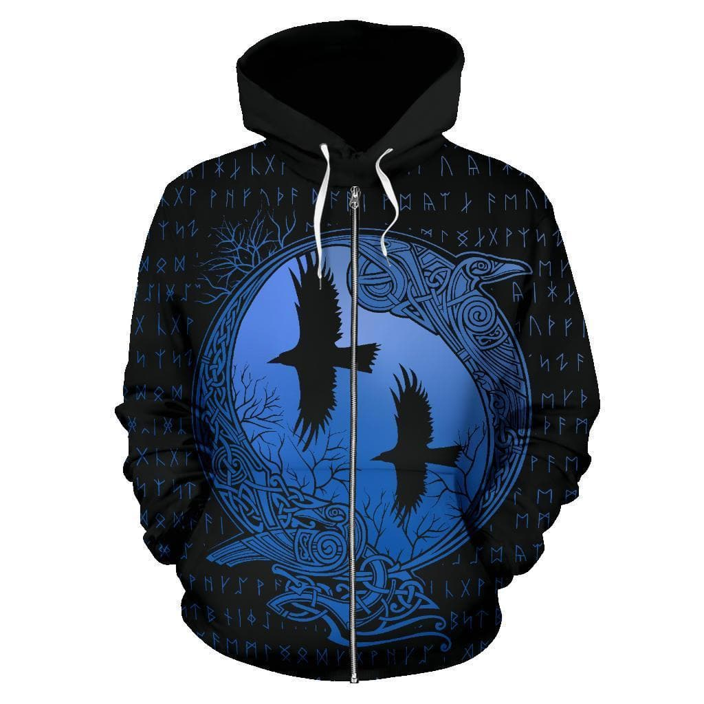 Huginn and Munnin Blue Zip 3D Hoodie Ancient Treasures Ancientreasures Viking Odin Thor Mjolnir Celtic Ancient Egypt Norse Norse Mythology
