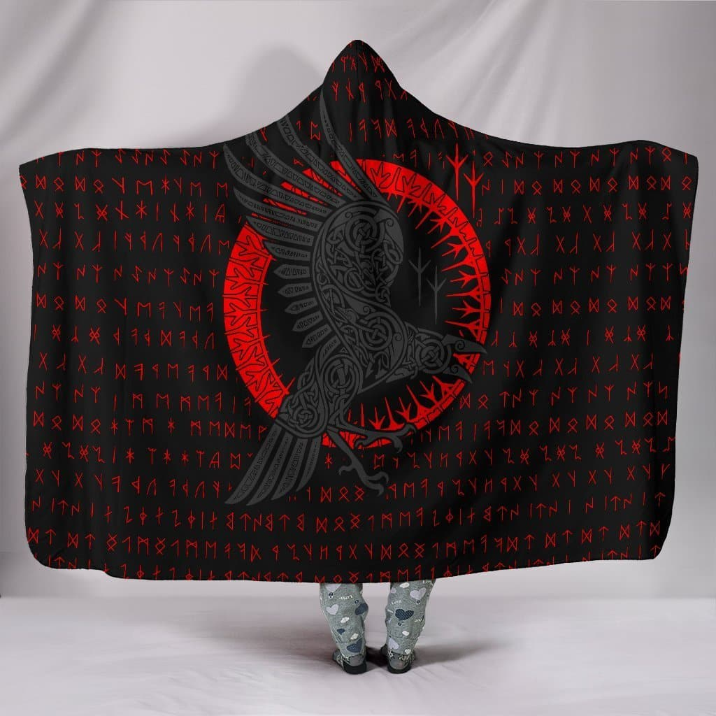 Huginn and Munnin Red Hooded Blanket