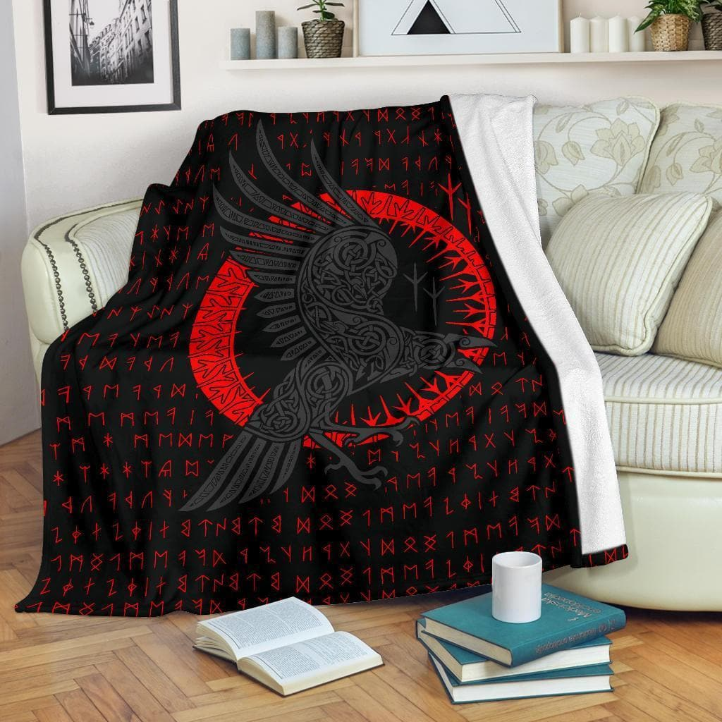 Huginn and Munnin Red Premium Blanket Ancient Treasures Ancientreasures Viking Odin Thor Mjolnir Celtic Ancient Egypt Norse Norse Mythology