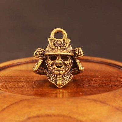 Feudal Japan Samurai Helmet Mask Copper Key Chain Pendant