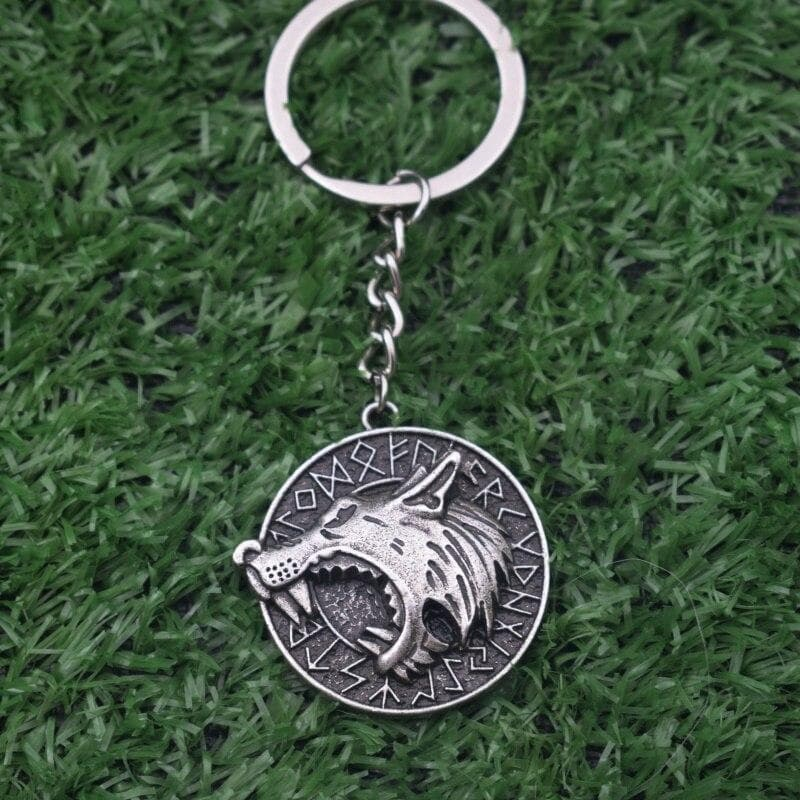 Key Chains Round Odin's Wolf Rune Keychain Nordic Viking Wolf Head Pendant|Key Chains| Ancient Treasures Ancientreasures Viking Odin Thor Mjolnir Celtic Ancient Egypt Norse Norse Mythology