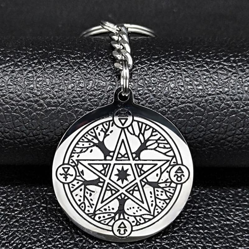 Keychains Wiccan Tree of Life and Pentagram Stainless Steel Keychain Ancient Treasures Ancientreasures Viking Odin Thor Mjolnir Celtic Ancient Egypt Norse Norse Mythology