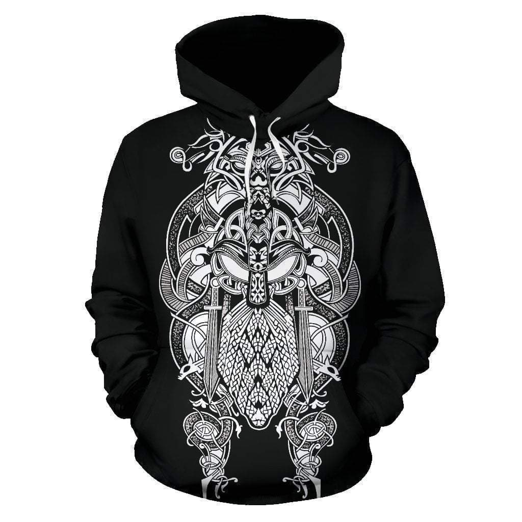 Men's Hoodie - 3D Viking Black Tyr Hoodie / S 3D Viking Black Tyr Hoodie Ancient Treasures Ancientreasures Viking Odin Thor Mjolnir Celtic Ancient Egypt Norse Norse Mythology