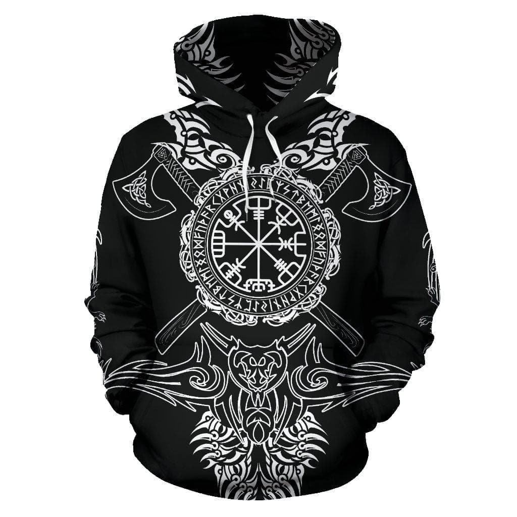 Men's Hoodie - Vegvisir 'Into Battle' Viking Axes Hoodie / S Vegvisir 'Into Battle' Viking Axes Hoodie Ancient Treasures Ancientreasures Viking Odin Thor Mjolnir Celtic Ancient Egypt Norse Norse Mythology