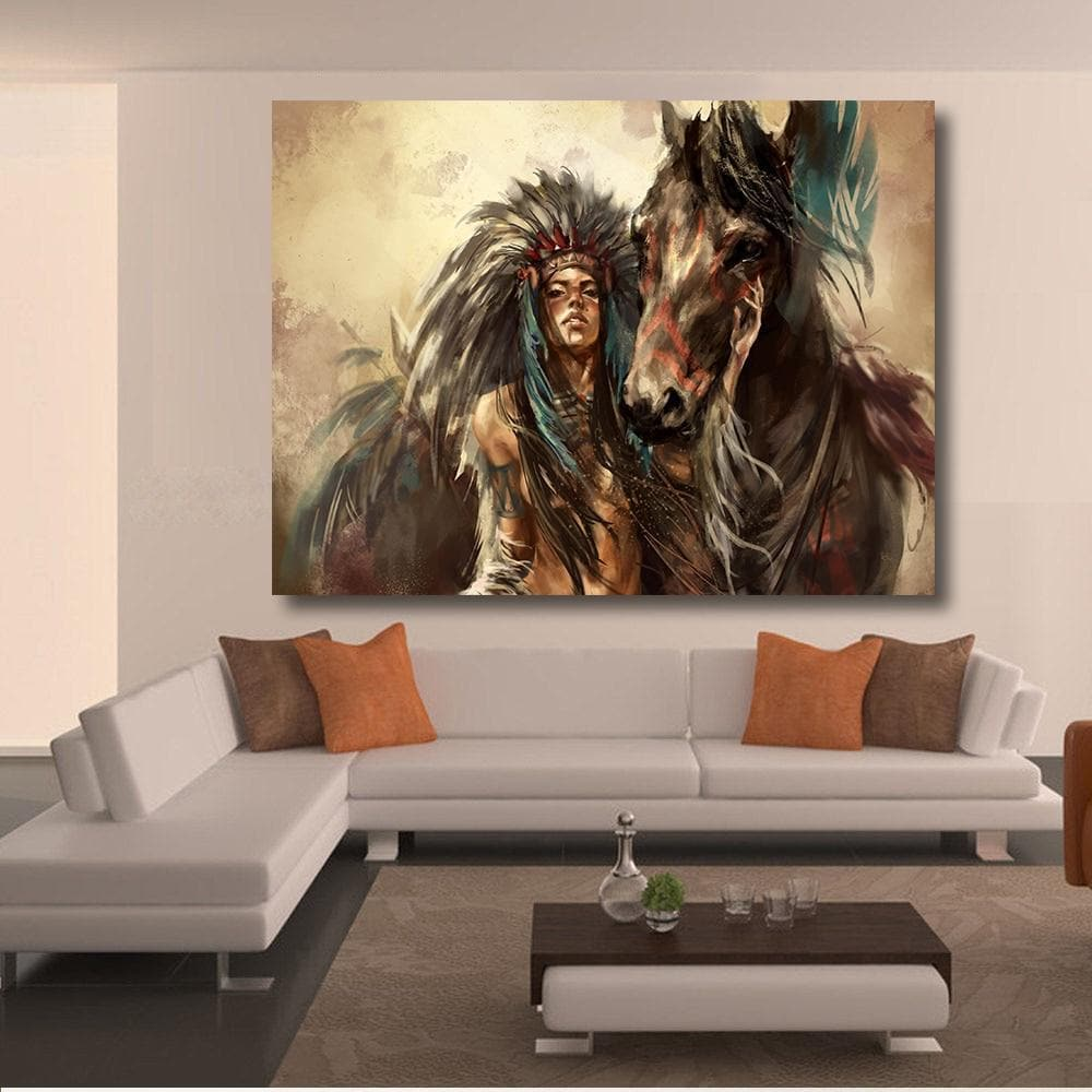 Native America Native American Women in Horse Oil Painting Wall Art