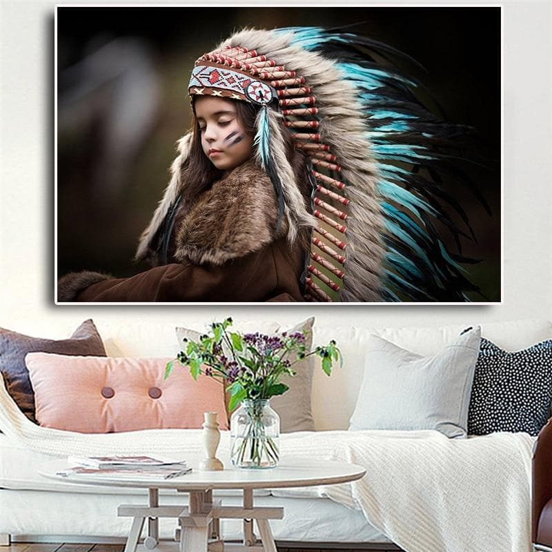 Native American 20x30cm no frame Native American Kid Canvas
