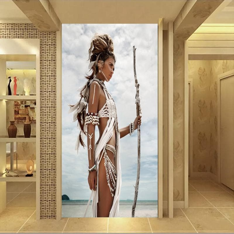 Native American 20X40 CM NO FRAME Native American Women Warrior Painting