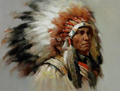 Native American 30X40cm unframed / PC760 Native American Cherokee Men Canvas