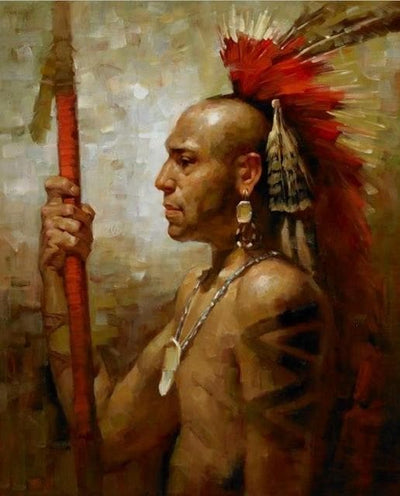 Native American 30X40cm unframed / PC761 Native American Cherokee Men Canvas