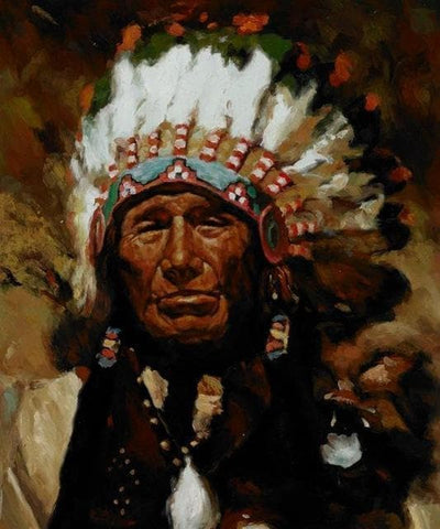 Native American 30X40cm unframed / PC762 Native American Cherokee Men Canvas