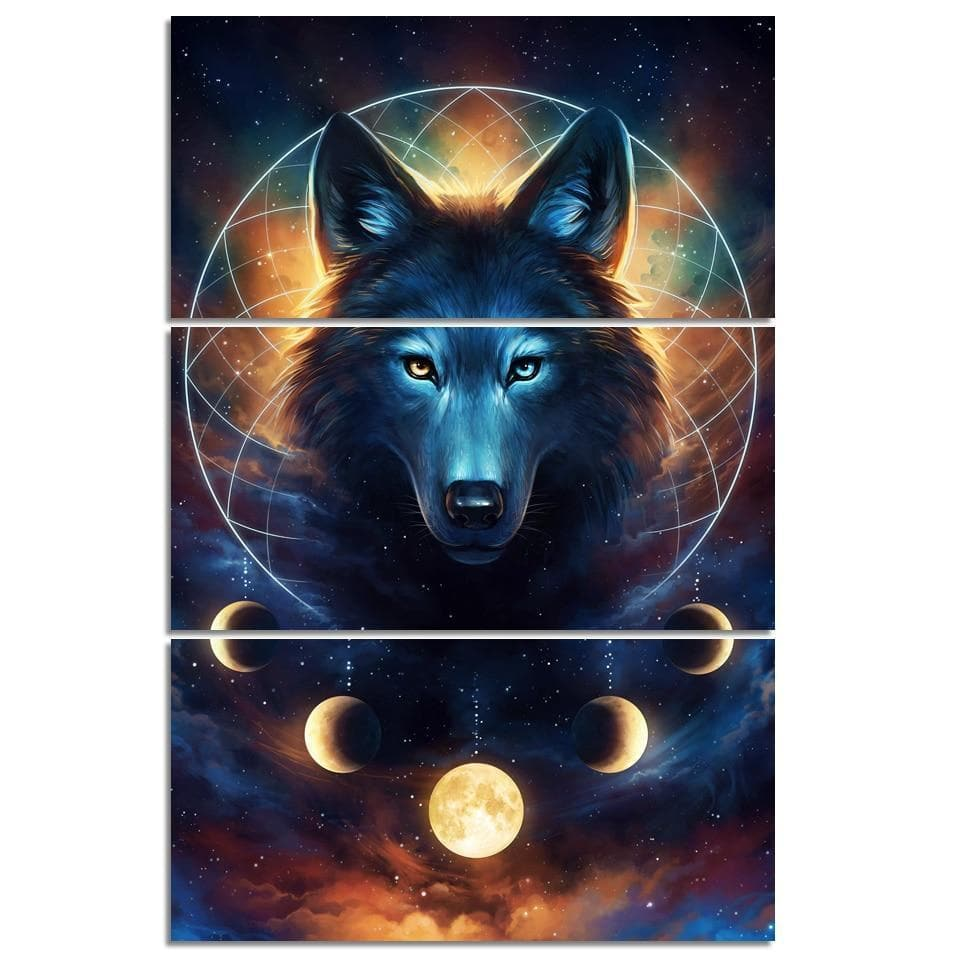 Native American 30x60cmx3 / unframed Native American Black Wolf Wall Art
