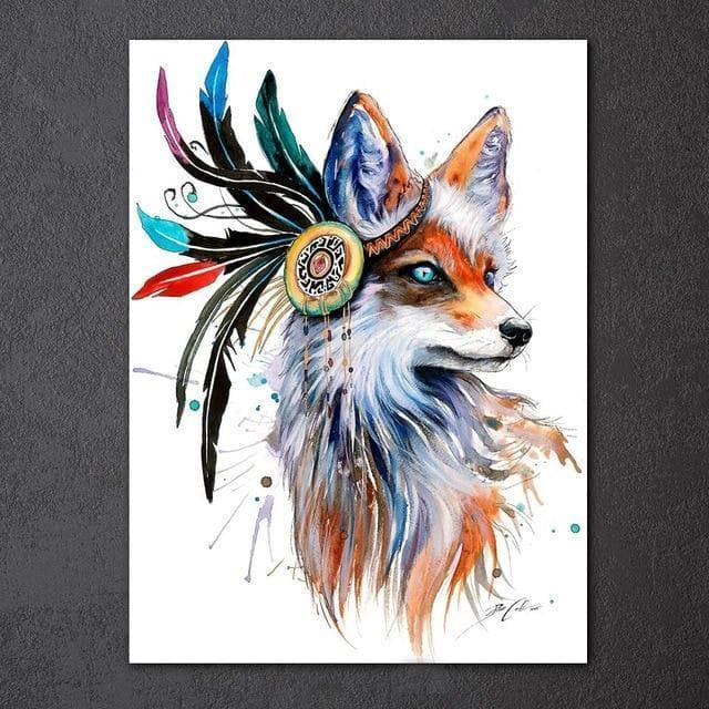 Native American 35x50cm unframed / CU-3252C Native American Animal Canvas