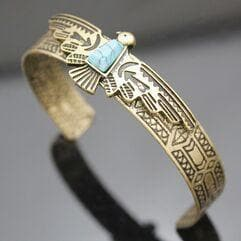 Native American Antique Gold Plated Native American Eagle Navajo Bracelet