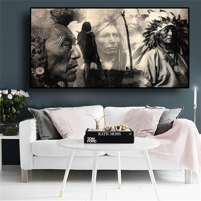 Native American Chief & Warriors Black and White Wall Art Canvas Ancient Treasures Ancientreasures Viking Odin Thor Mjolnir Celtic Ancient Egypt Norse Norse Mythology